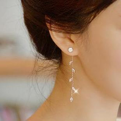 Ticoo - Rhinestone Leaf Drop Earrings