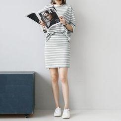 NANING9 - Set: 3/4-Sleeve Striped T-Shirt + Banded-Waist Skirt