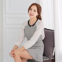 SUVINSHOP - Set: Raglan-Sleeve Checked Top + Frilled Miniskirt