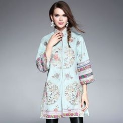 Ozipan - 3/4-Sleeve Embroidery Buttoned Coat