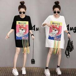 VIZZI - Fringed Tasseled Elbow Sleeve T-Shirt Dress
