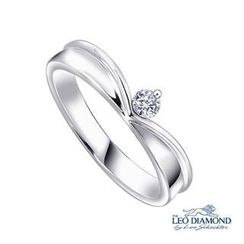 Leo Diamond - 18K White Gold Diamond Solitaire Angel Polished Women Ring