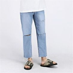 THE COVER - Straight-Cut Cut-Off Detailed Jeans