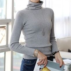 CHICFOX - Turtle-Neck Ribbed Knit Top