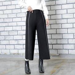 Sonne - 高腰针织锏条九分阔腿裤