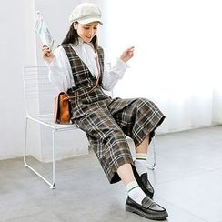Queen Bee - Plaid Knit Dungaree