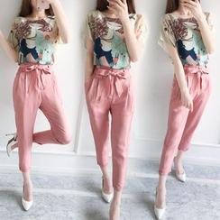 Ashlee - 套装: 印花短袖衬衫 + 九分腰结带裤