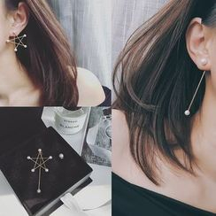 Avery - Faux Pearl Star Non-matching Drop Earrings