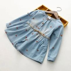Seashells Kids - Kids Cherry Embroidered Denim Dress with Cord