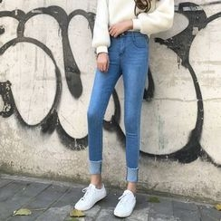 Jeans Kingdom - Washed Skinny Jeans