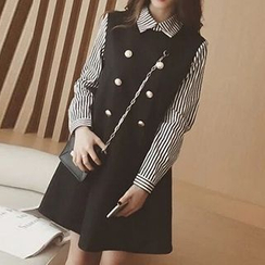 Eva Fashion - Mock Two-Piece Double-Breasted Dress