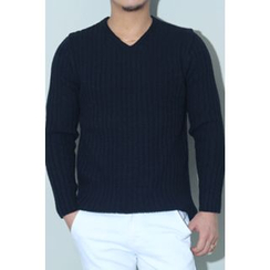Ohkkage - V-Neck Ribbed Sweater