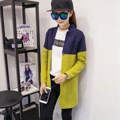 Blue Belle - Colour Block Stand-collar Knit Jacket