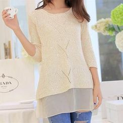 anzoveve - Sequined Chiffon Panel Knit Top