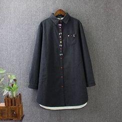 藍玫瑰衣坊 - 飾蝴蝶結內抓毛長款襯衫