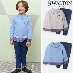 WALTON kids - Set: Printed Check-Detail T-Shirt + Band-Waist Pants
