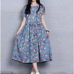 Clover Dream - Short-Sleeve Floral A-line Midi Dress