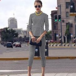 SEYLOS - Set: 3/4-Sleeve Houndstooth Top + Cropped Pants