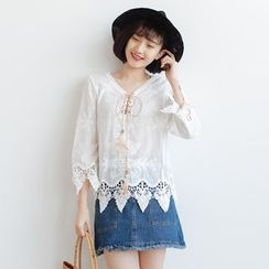 Forest Girl - Embroidered Lace Bell-Sleeve Blouse