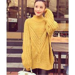 HazyDazy - Plain Mock Neck Long Chunky Sweater
