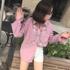 Bloombloom - Floral Embroidered Long-Sleeve Shirt