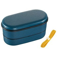 Skater - Japanese Style Mokume Oval 2 Layer Lunch Box (with Chopsticks) (Blue)