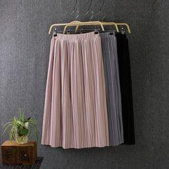Blue Rose - Pleated Plain Skirt