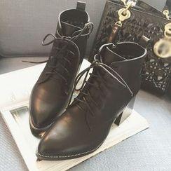 QQ Trend - Block Heel Pointy Short Boots