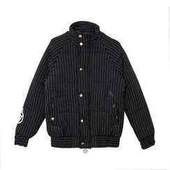 Mr. Cai - Striped Applique Printed Padded Jacket