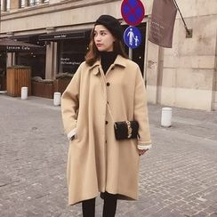 Cocofield - Plain Long Woolen Coat