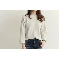 UPTOWNHOLIC - Round-Neck Wool Blend Knit Top