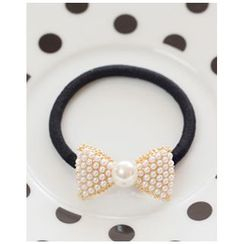 Miss21 Korea - Faux-Pearl Bow Hair Tie