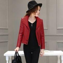 AiSun - Faux leather Biker Jacket