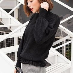 MayFair - Ruffle Hem Mock Neck Sweater
