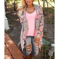 Dream a Dream - Patterned Sleeve Open Front Cardigan
