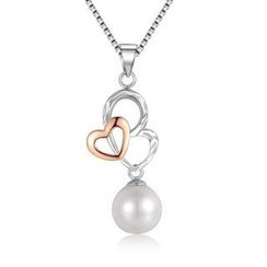 MaBelle - 《2 Hearts As 1》14K/585 Bicolor Gold Pearl Necklace