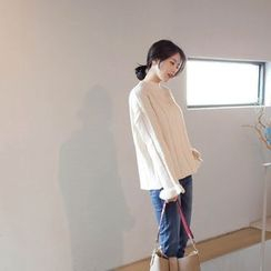 mimi&didi - Mock-Neck Bell-Sleeve Sweater