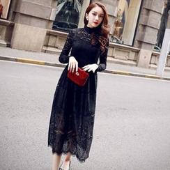 Sherbo - Set: Lace Maxi Evening Dress + Slipdress