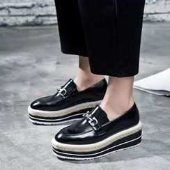 VIAN - 拼色厚底漆皮乐福鞋
