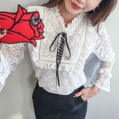 DABAGIRL - Lace-Up Front Frilled Lace Top