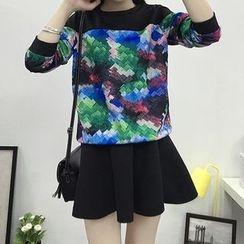 HEROWAN - Set: Printed Pullover + Plain A-Line Skirt