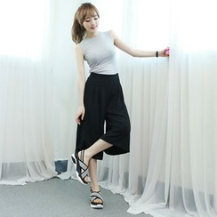 Dodostyle - Band-Waist Wide-Leg Pants