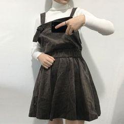 Big Cat - Plain Corduroy Pinafore Dress