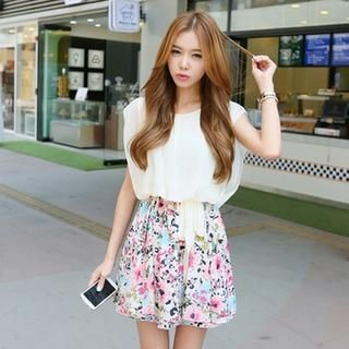 Koo - Mock Two-Piece Floral Chiffon Dress