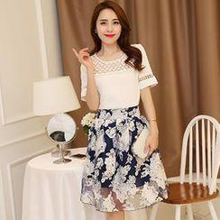 Romantica - Set: Short-Sleeve Beaded Paneled Top + Printed Midi Skirt