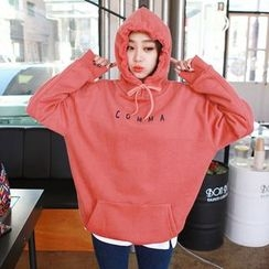 Seoul Fashion - Hooded Lettering Brushed-Fleece Lined Pullover