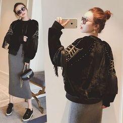 Ashlee - 流苏铆钉毛绒外套