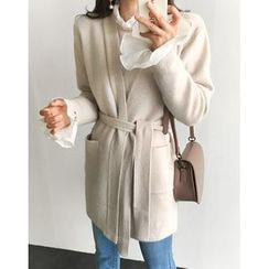 UPTOWNHOLIC - Open-Front Wool Blend Cardigan With Sash