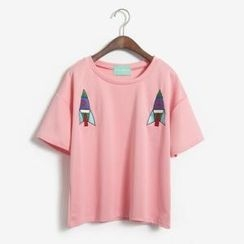 Porta - Rocket Embroidered Short-Sleeve T-Shirt