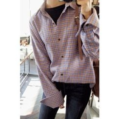 CHERRYKOKO - Wide-Cuff Plaid Shirt